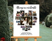 Obitspace FUNERAL POSTER - HEART COLLAGE, 20 PHOTOS, WHITE BACKGROUND, CL23