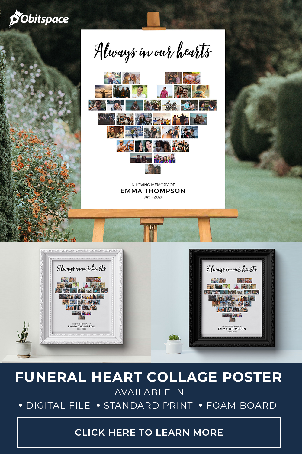 heart collage funeral poster welcome sign display
